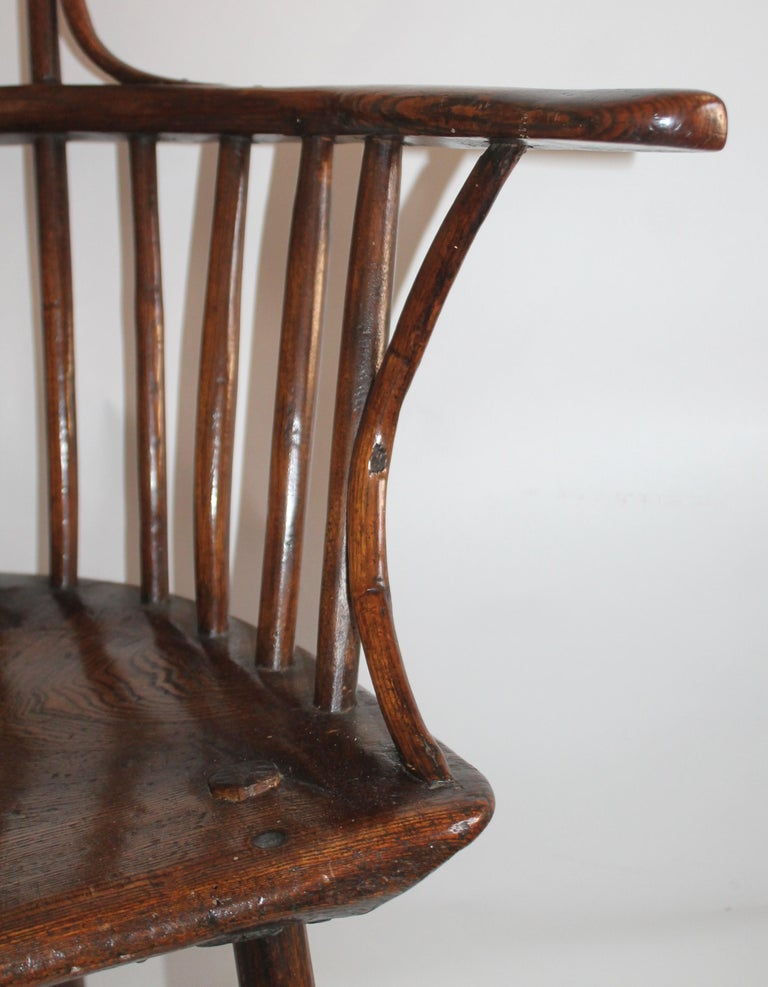 Wood 18th Century English Extended Arm High Back Windsor Chair For Sale