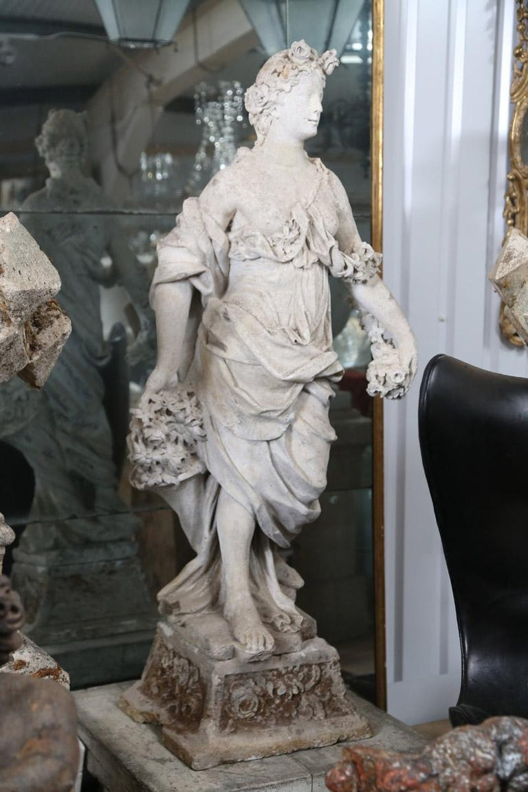 Mid-18th century French stone statue of flora originally from a chateau in Dijon, France.