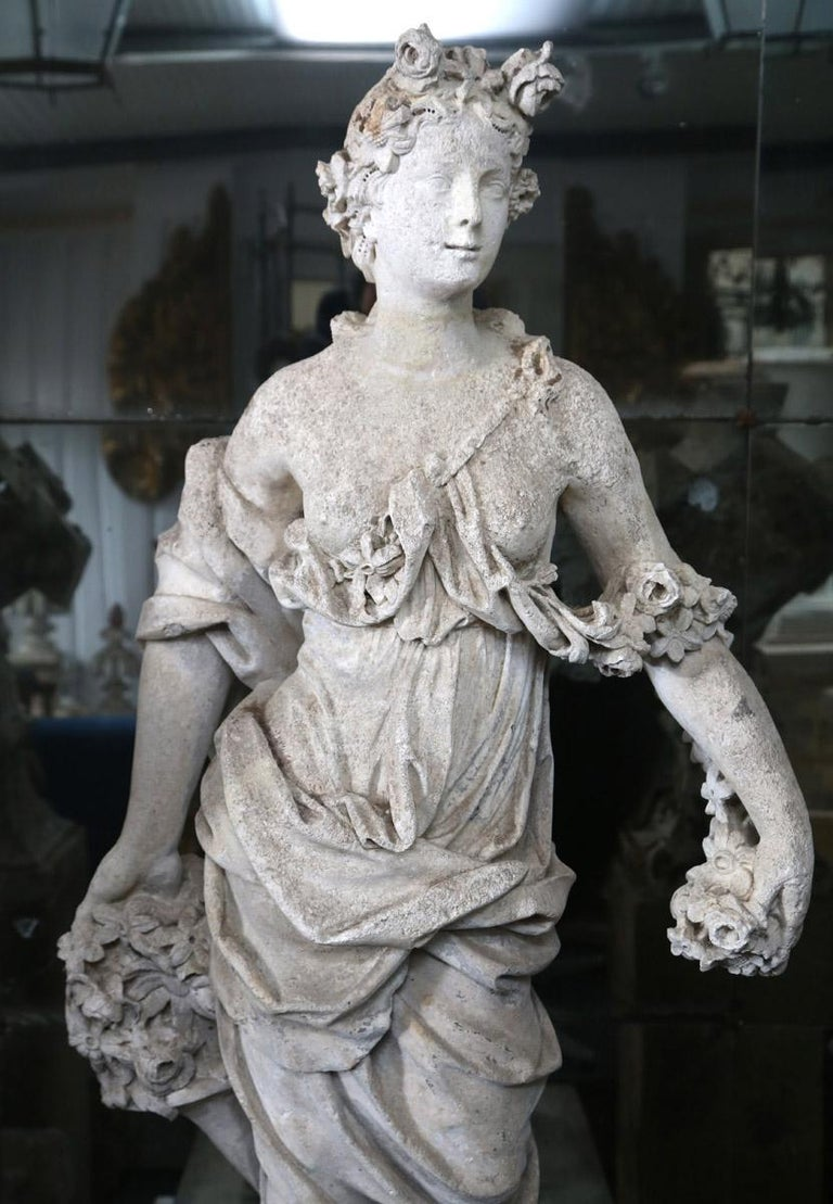 18th Century French Stone Statue of Flora In Good Condition For Sale In Poling, West Sussex