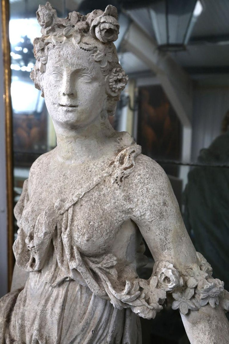 18th Century French Stone Statue of Flora For Sale 1