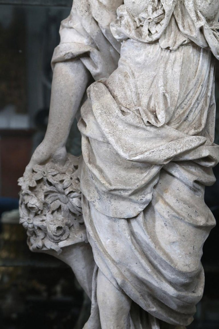 18th Century French Stone Statue of Flora For Sale 3