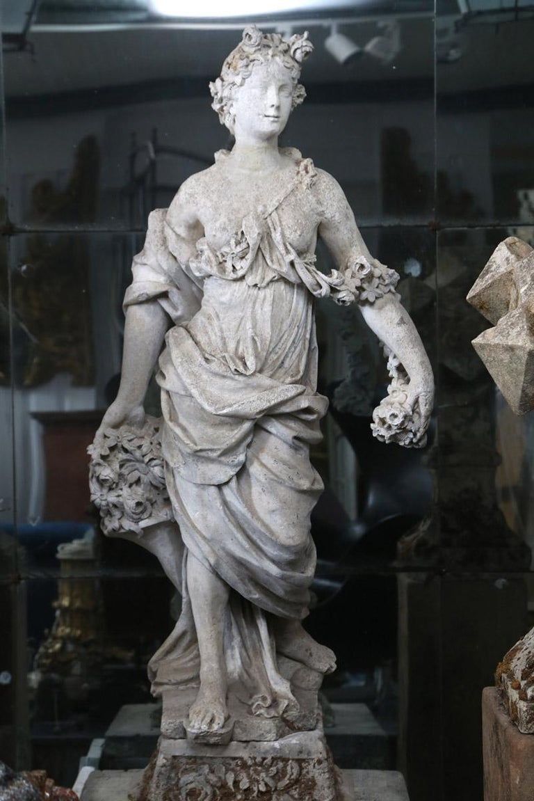 18th Century French Stone Statue of Flora For Sale 4