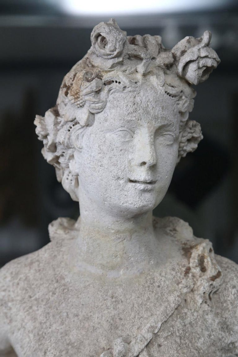 18th Century French Stone Statue of Flora For Sale 5