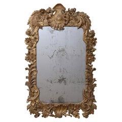 18th Century Irish Carved Gold Giltwood Mirror