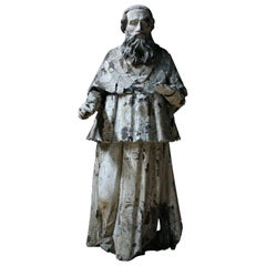 18th Century Italian Carved and Painted Figure of a Saint or Cardinal circa 1740