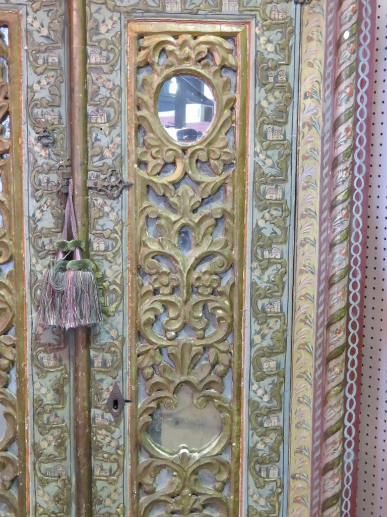 Painted 18th Century Italian Carved Wardrobe For Sale