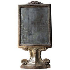 18th Century Italian Gilded Silver Leaf and Mercury Plated Limewood Altar Mirror