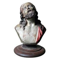 18th Century Italian Polychromed Earthenware Bust of Christ, circa 1750