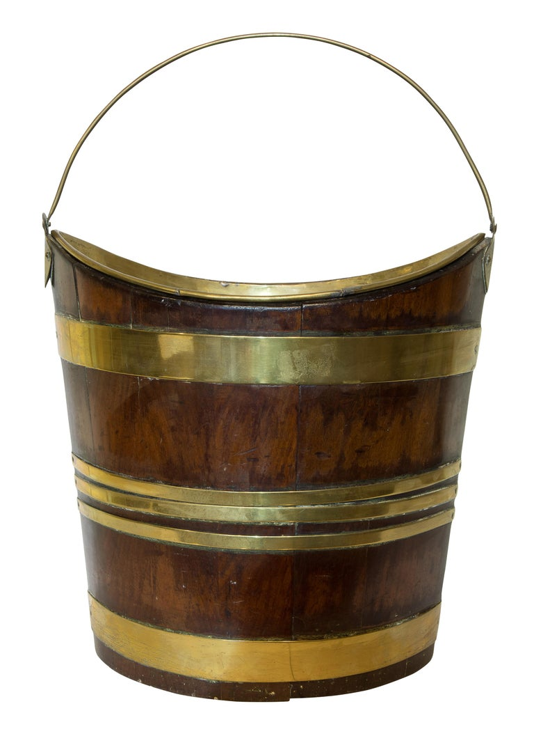 English 18th Century Mahogany and Brass Bound Bucket For Sale