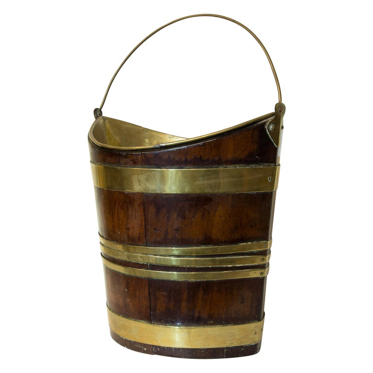 18th Century Mahogany and Brass Bound Bucket For Sale
