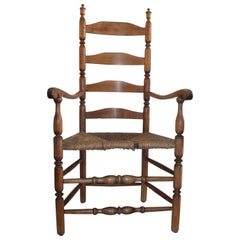 18thc New England Ladder Back Armchair