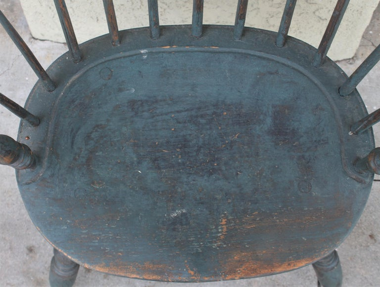 Hand-Crafted 18th Century Original Blue Painted Pennsylvania Windsor Arm Chair For Sale