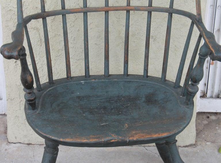19th Century 18th Century Original Blue Painted Pennsylvania Windsor Arm Chair For Sale