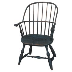 18th Century Original Blue Painted Pennsylvania Windsor Arm Chair