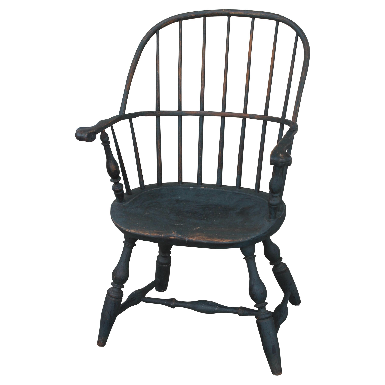 18thc Original Blue Painted Windsor Arm Chair