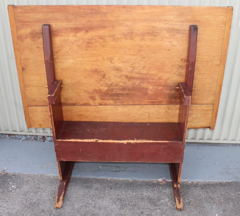 18th Century and Earlier 18th Century Original Red Painted Hutch Table For Sale
