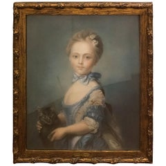 "18th Century French Blue Pastel Portrait of ""A Girl with a Kitten J.B Perronneau"