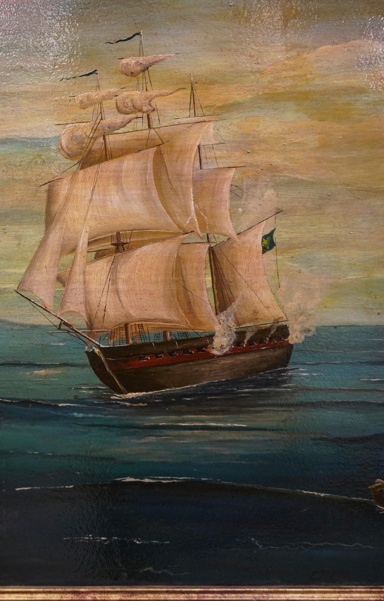 18th French oil on canvas School Naval Battle Oil on Canvas For Sale 4