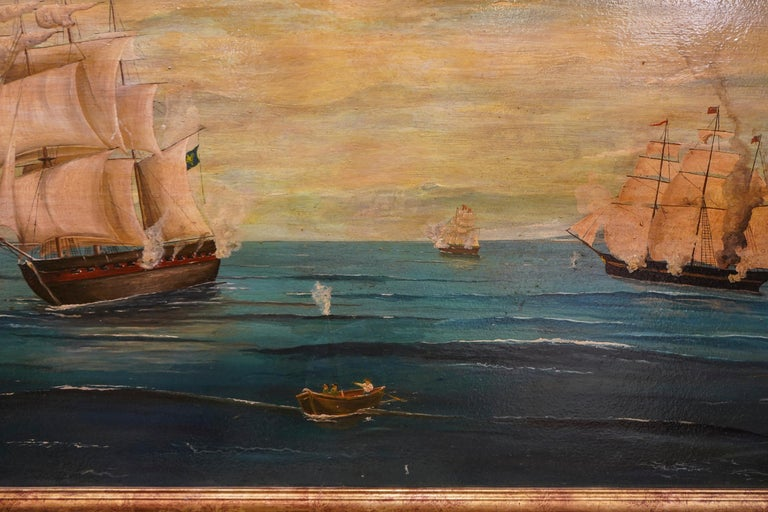 18th French oil on canvas School Naval Battle Oil on Canvas For Sale 5