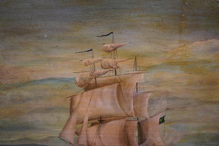 18th French oil on canvas School Naval Battle Oil on Canvas For Sale 6