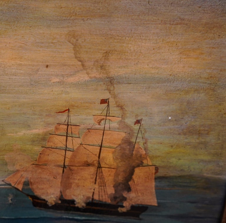 18th French oil on canvas School Naval Battle Oil on Canvas For Sale 7