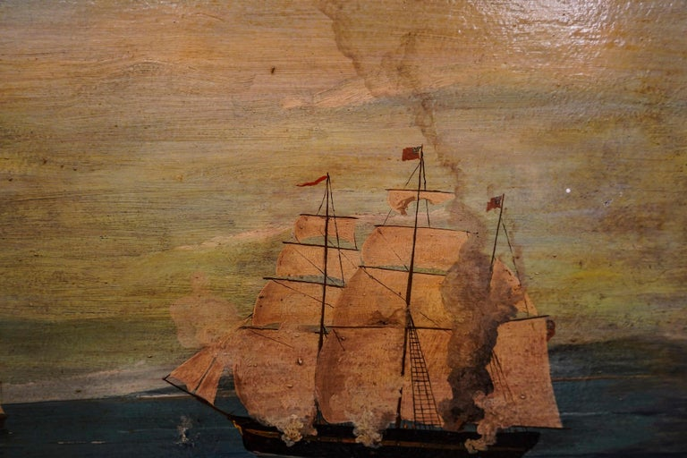 18th French oil on canvas School Naval Battle Oil on Canvas For Sale 8