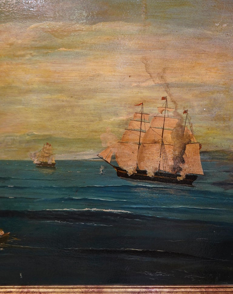 Hand-Painted 18th French oil on canvas School Naval Battle Oil on Canvas For Sale
