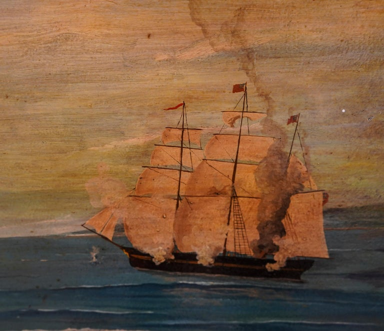 18th French oil on canvas School Naval Battle Oil on Canvas In Good Condition For Sale In Valladolid, ES