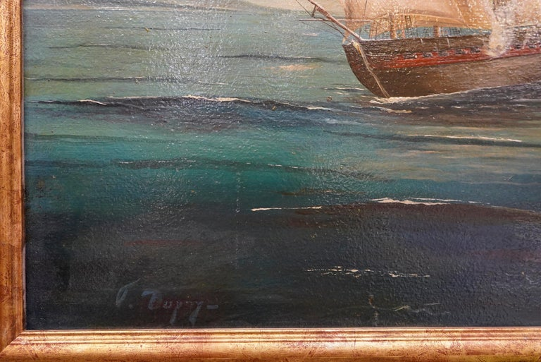 Late 18th Century 18th French oil on canvas School Naval Battle Oil on Canvas For Sale