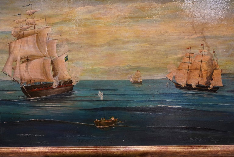 18th French oil on canvas School Naval Battle Oil on Canvas For Sale 3