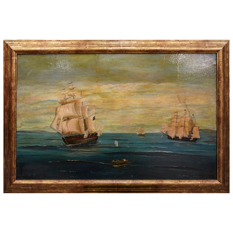 18th French oil on canvas School Naval Battle Oil on Canvas For Sale