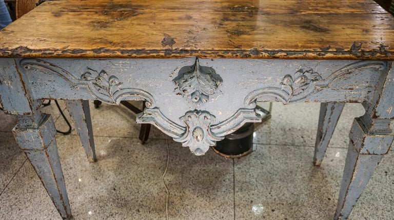 18th Century Luisxvi French Bluewood Handpainted and Carved Console Table, 1799 3