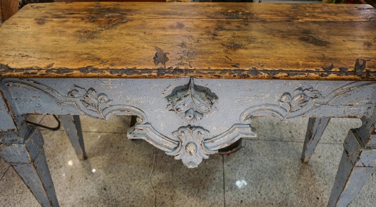 18th Century Luisxvi French Bluewood Handpainted and Carved Console Table, 1799 8
