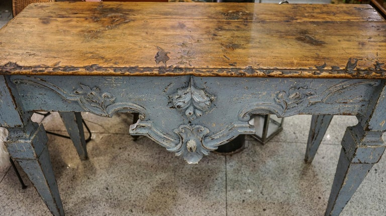Louis XVI 18th Century Luisxvi French Bluewood Handpainted and Carved Console Table, 1799