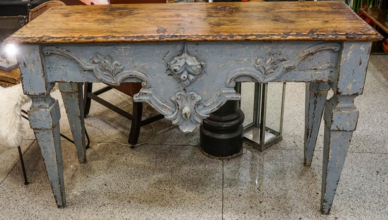 18th Century Luisxvi French Bluewood Handpainted and Carved Console Table, 1799 In Good Condition In Valladolid, ES