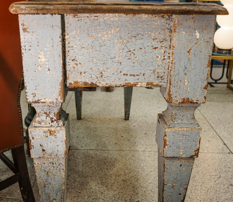 18th Century Luisxvi French Bluewood Handpainted and Carved Console Table, 1799 1