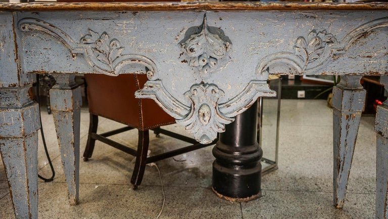 18th Century Luisxvi French Bluewood Handpainted and Carved Console Table, 1799 2