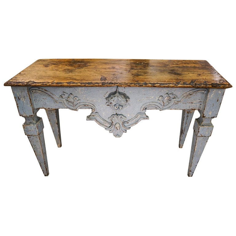 18th Century Luisxvi French Bluewood Handpainted and Carved Console Table, 1799