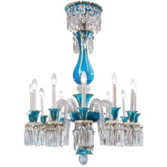18th Century Baccarat Blue Opaline Twelve-Light Crystal Chandelier