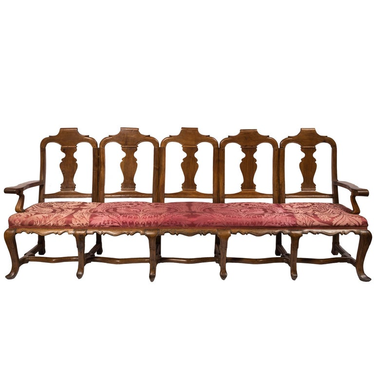 18th Century Spanish Wood and Silk Fabric Carlos III Chair Back Sofa For Sale