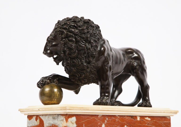 Neoclassical Grand Tour Patinated/Gilt Bronze and Marble Model of Medici Lion For Sale 4
