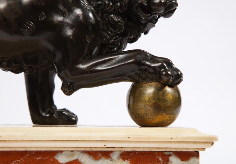Mid-19th Century Neoclassical Grand Tour Patinated/Gilt Bronze and Marble Model of Medici Lion For Sale