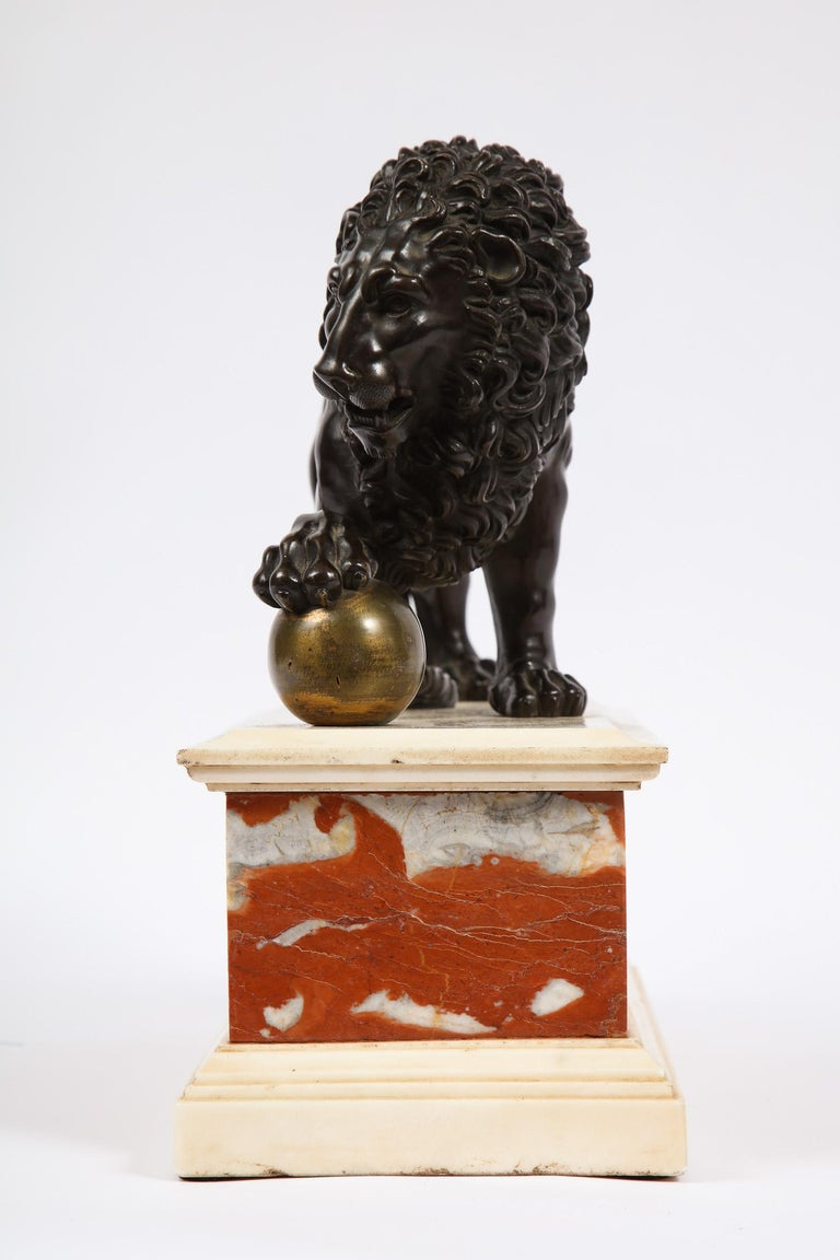 Neoclassical Grand Tour Patinated/Gilt Bronze and Marble Model of Medici Lion For Sale 1