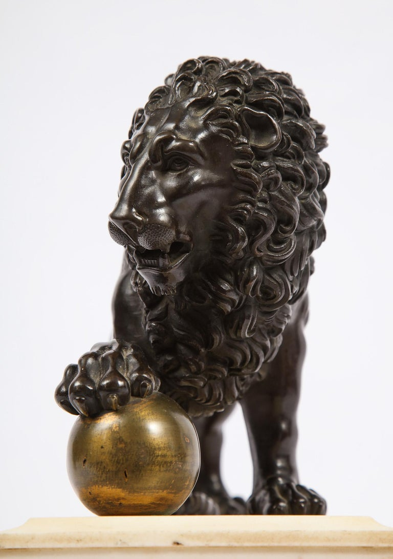 Neoclassical Grand Tour Patinated/Gilt Bronze and Marble Model of Medici Lion For Sale 2
