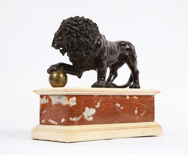 Neoclassical Grand Tour Patinated/Gilt Bronze and Marble Model of Medici Lion For Sale 3