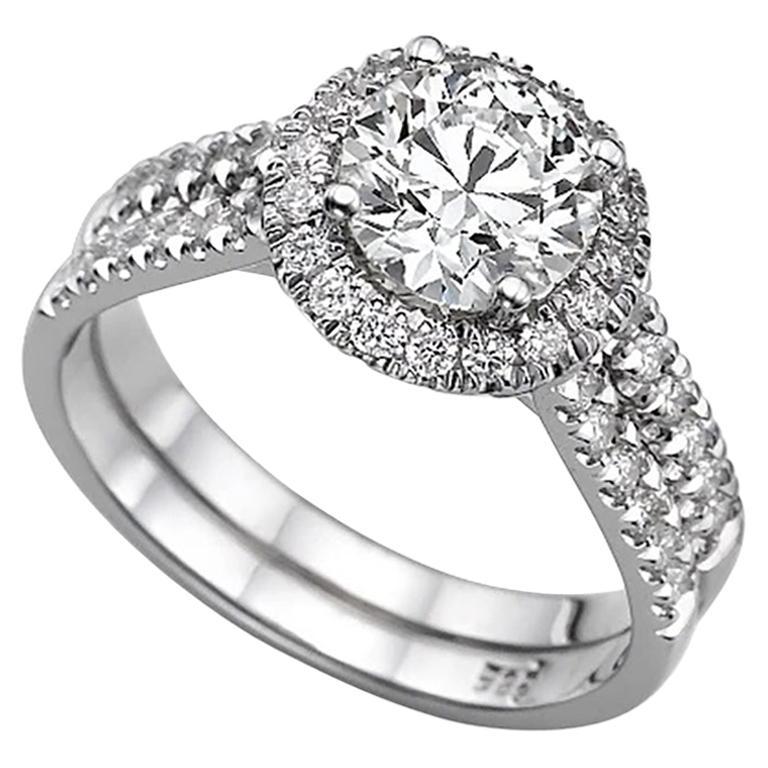 1.9 Carat 14 Karat White Gold Round Diamond Engagement Ring