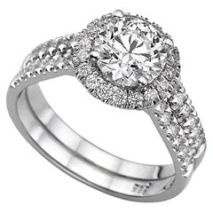 1.9 Carat 14 Karat White Gold Round Diamond Engagement Ring