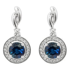 1.9 Carat Blue Sapphire and Diamond Earring in 18 Karat White Gold