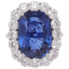 19 Carat Ceylon No Heat Sapphire and Diamond Ring