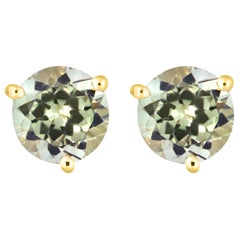1.9 Carat Turkish Color Changing Diaspore Stud Earrings in Yellow Gold